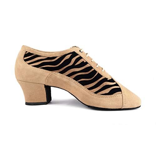 PortDance Damen Trainerschuhe/Tanzschuhe PD703 Fashion - Nubuck Camel/Tiger - 4 cm Cuban [EUR 38]