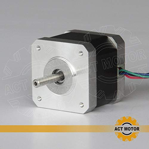 ACT MOTOR GmbH 1PC 17HS4417 Nema17 Stepper Motor Bipolar 40mm Body 40Ncm Torque 4Wire 300mm Cable 1.7A with 1.8° 2.55V for Robot CNC Schrittmotor 3D Printer