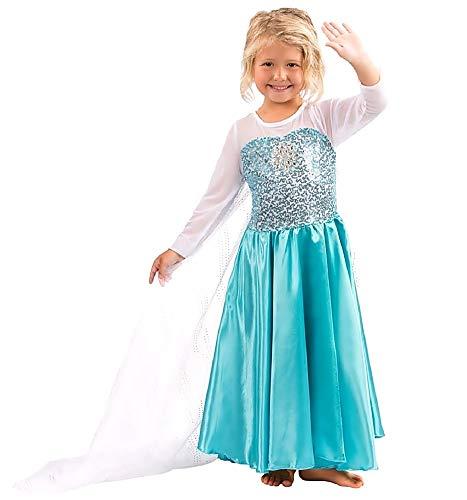 Disfraz de Elsa frozen - niña - bata blanca - halloween - carnaval - talla 110-3/4 años - idea de regalo original frozen