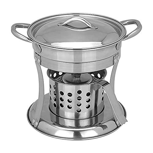 Gasificador de Madera Plegable, mochilero de Estufa de Alcohol solidificado de Acero Inoxidable, Sistema de Cocina para Quemar leña de Supervivencia