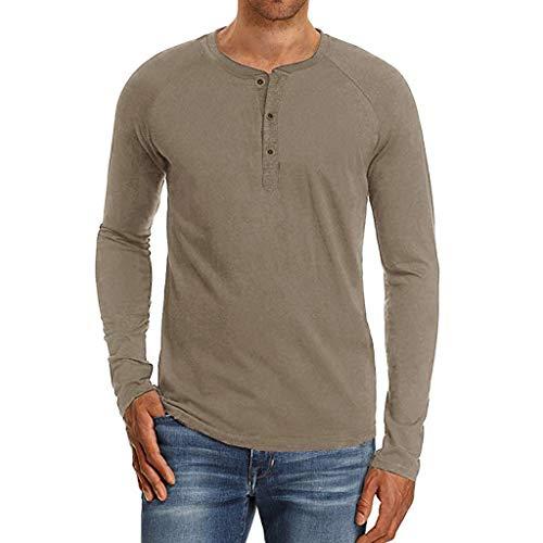 Camisas Henley para Hombres Camiseta de Manga Larga con Botones de Ajuste Regular Casual Tops Sueltos de otoño Camisetas básicas Entrenamiento BuyO