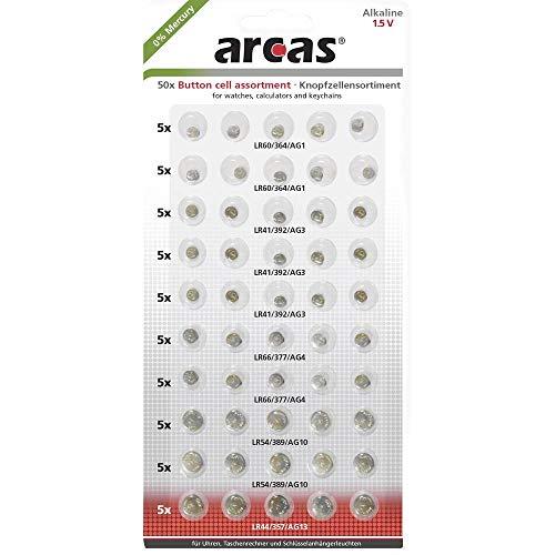 Arcas 12755000 Household Battery Single-Use Battery 1,5 V - Pilas (Single-Use Battery, Botón/Moneda, 1,5 V, 50 Pieza(s), 140 mAh, CD (cadmio), HG (Mercurio))