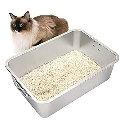 ULIGOTA Cat Litter Tray Stainless Steel Rabbit Litter Tray Large Size Cat Litter Box No Odor & Non Stick & Easy to Clean