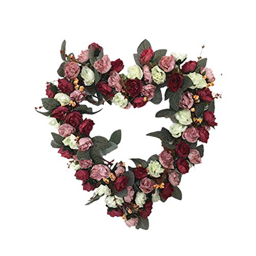 Artificial Roses Heart-shaped Garland Wearth Fake Flowers Simulation 36cm for Home Valentine's Day Easter Festival Party Wedding Decoration