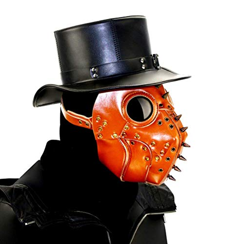 WLXW Steampunk Plague Bird Doctor Máscara, Halloween Navidad PU Cuero Disfraces Accesorios Mascarada Cosplay Medieval Vintage Máscara