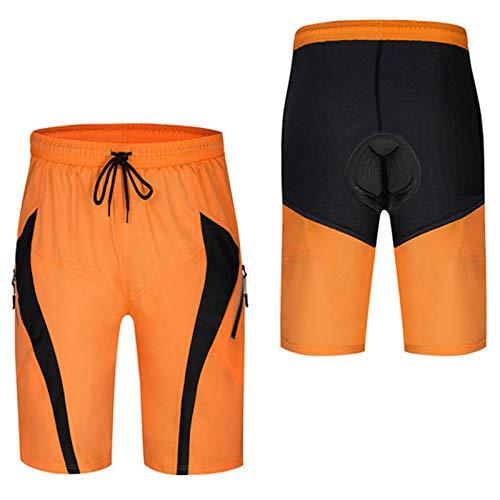 Culotte Ciclismo Hombre,Antideslizantes Y Transpirables Culottes De Ciclismo,con Ropa Interior De Bicicleta MTB Acolchada con Gel,Adecuado para Actividades Al Aire Libre(Size:XXL,Color:Naranja)