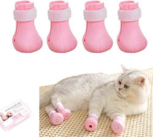Elegantday Anti-Scratch Pet Boots Silicone Cat Bathing Shoes Adjustable Cat Paw Protector Cover for Home Bathing Wash, Barbering, Body Checking Treatment 4 PSC (Pink)