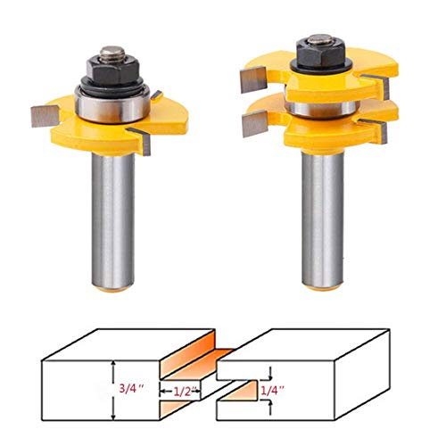 "Tongue and Groove Router Bit Set, Wood Door Flooring 3 Teeth Adjustable 1/2"" Shank T Shape Wood Milling Saw Cutter New Woodworking Tools For Doors, Drawers, Shelves & More- Pack of 2"