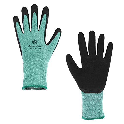 SUNCHANT 12Pairs Gardening Gloves for Women and Men, Breathable and Barehand Sensitivity, Latex Coated Work Gloves for Yard Work, High Elastic fits Most Size (Green)