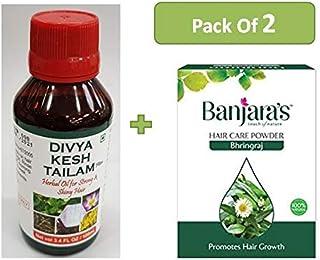 1 x Patanjali Divya Kesh Tailam Plus (Herbal Hair Oil) 100gm, With Free 1 x Banjara's Bhringraj Herbal Hair Pack Powder - ...