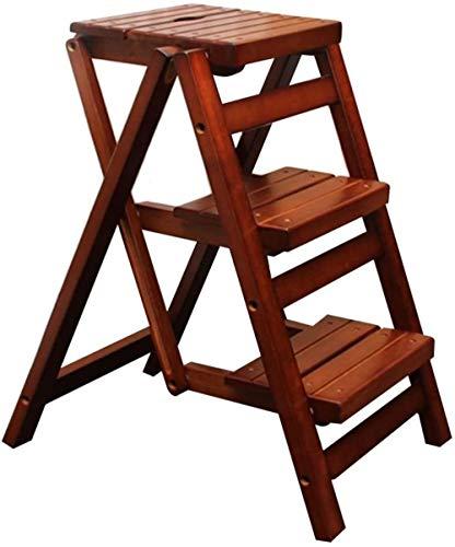 Woodtree Multifunción Escalera Plegable Taburete de Madera sólida Antideslizante Impermeable Escalada Global...