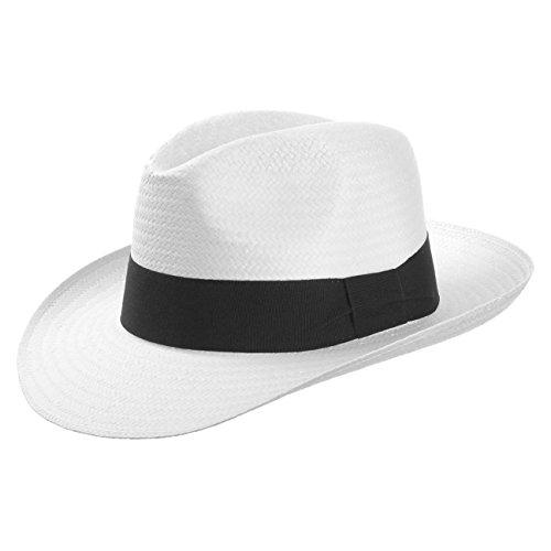 White Mountain Strohhut (Bogarthut) aus Papierstroh Damen und Herren - Hut mit Ripsband - Sommerhut in weiß - Sonnenhut Größe L (58-59 cm) - Strandhut Frühling/Sommer