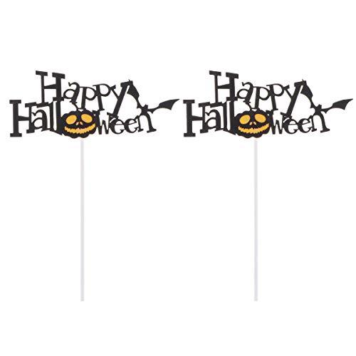 Amosfun 5 Stück Halloween Cake Toppers Kürbis Fledermaus Cake Picks Obst Picks Dessert Topper Halloween Party Dekoration Lieferungen für Halloween Party Supplies