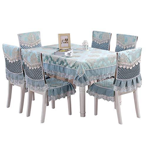 Nappes Tissu Nappe De Style Européen + Housses De Chaise + Coussins De Chaise Ensemble 7 Pièces Table Basse Table Rectangulaire Housse En Tissu Moderne Maison Minimaliste