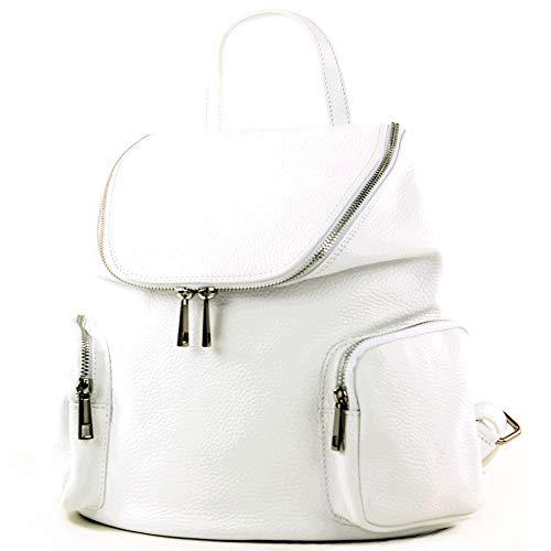 modamoda de - T175 - ital Damen Rucksack Tasche aus Leder, Farbe:Weiß