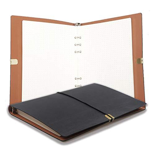 A5 Lederbinder Notizbuch PU Journal Writing Notizbuch Tagebuch Austauschbares Papier, feines weiches PU Leder + Metallbinder + Spitze + Qualitätspapier - 100 g/m², 160 Seiten (Schwarz)