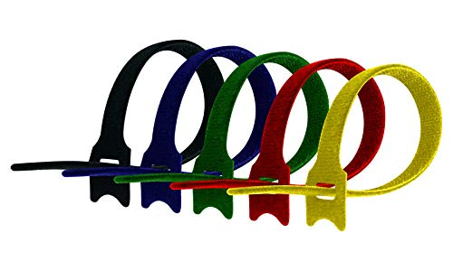 Cambridge ZipIts Reusable Fastening Cable Ties 75 Pack 8-in Assortment; 15 Pieces Each Black, Blue, Green, Red, Yellow