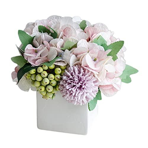 N/A/a Flores Artificiales, Flores de Seda en jarrón, Flores de imitación en macetas de cerámica con arreglo de centros de Mesa Florales de Rosas de Seda - Hortensia Morado