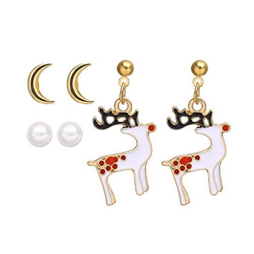 Creative Christmas Santa Claus Earrings Set Festival Gifts For Women Cute Bells Tree Elk Earring Halloween Jewelry-Cs5427-