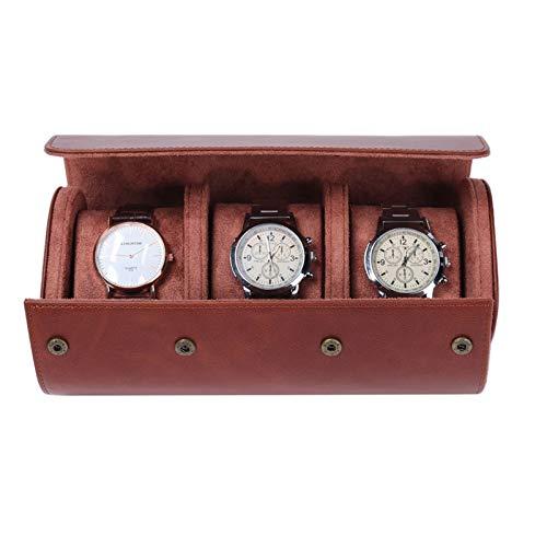 JIAYU Caja Relojes-Caja Reloj Reloj para Hombre Rollo Caja De Viaje Caja De Almacenamiento Marrón con 3 Ranuras Accesorios para Relojes Regalo (Color : Brown, Size : 22x10x7.5cm)