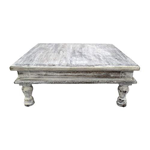 Salontafel, bijzettafel, softafel, decoratietafel, magoholz/MDF hout, handbeschilderd, Oosterse Indiase bont handwerk decoratie mandala wit