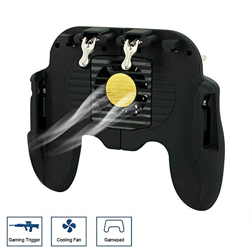 Mobile Game Controller for PUBG Gamepad with Cooling Fan L1 R1 Aim Fire Joystick Gaming Triggers for iPhone iOS Android Supports Fortnite/Rules of Survival (Black)