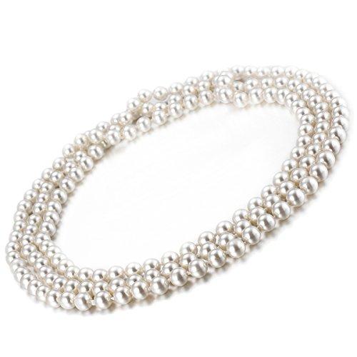 Lunga collana di perle Collane lunghe donna perle La lunghezza di circa 1,5 m, perle artificiali 7.5-8mm VIKI LYNN