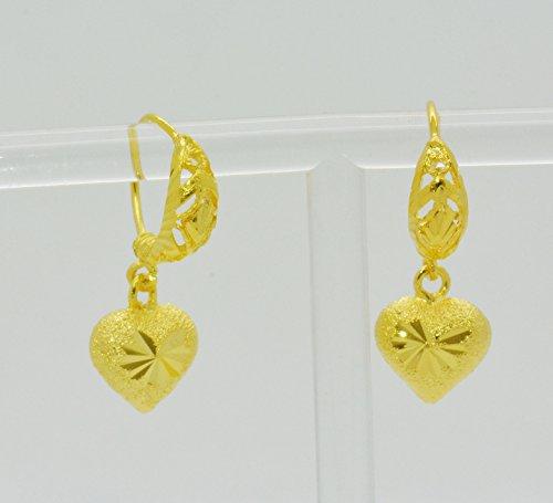 Montip Lynn Preciosos pendientes colgantes chapados en oro amarillo de 22 k 23 k 24 K para mujer y niña