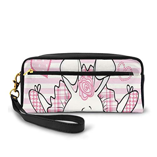 Pencil Case Pen Bag Pouch Stationary,Miss Bunny Hoop in Love Romantic Cute Rabbit Valentines Day in Hearts Artwork,Small Makeup Bag Coin Purse