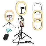 Magicfun Anillo de Luz con Trípode, 10 Pulgadas LED Selfie Ring Light con Soporte para teléfono, 3 Colores y 10 Brillos, Luz de Anillo para Youtube/Tiktok/Live/Vlog/Maquillaje