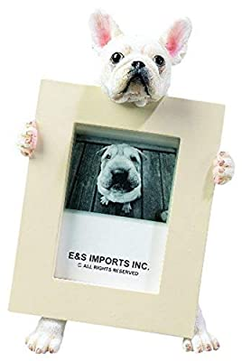 French Bulldog Picture Frame Holds Your Favorite 2.5 by 3.5 Inch Photo, Hand Painted Realistic Looking French Bulldog Stands 6 Inches Tall Holding Beautifully Crafted Frame, Unique and Special French Bulldog Gifts for French Bulldog Owners by E&S Imports,