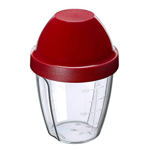 Westmark Mix- und Schüttelbecher/Shaker mit herausnehmbarer Mixscheibe, Fassungsvermögen: 0,25 l, Höhe: 12,8 cm, Kunststoff, BPA-frei, Mix-Ei, Farbe: Klar/Rot, 30892270