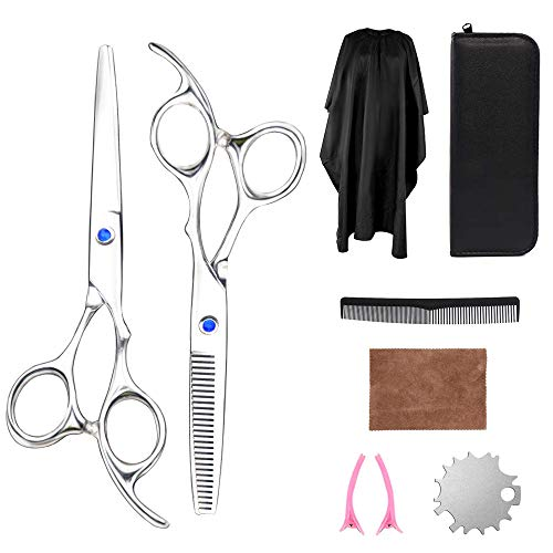Professional Hair Scissors Kit, Stainless Steel Hair Cutting Thinning ScissorsBarber Shears Hairdressing Tool Set for Home, Salon, Barbers (sliver-pf2)
