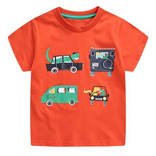 JinBei Camiseta Bebé Niño Manga Corta Algodon Camisetas Elegante Verano Casual Dibujos Chico Sudadera Impresión de Coche 1 2 3 4 5 6 7 Años