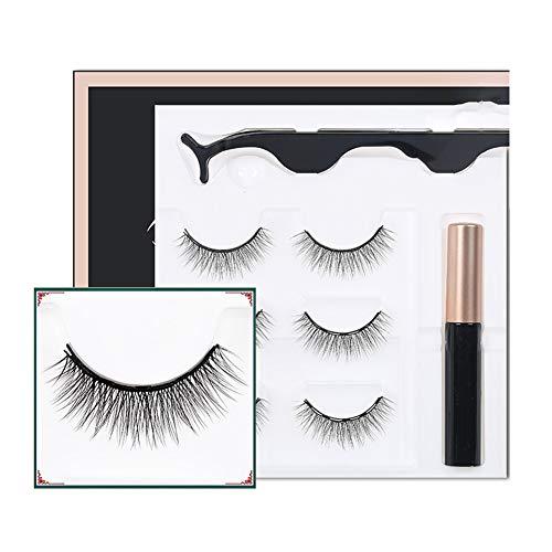 Wishwin Magnetic False Eyelashes Set without Glue Waterproof Natural Look Reusable False Lashes 3 Pairs