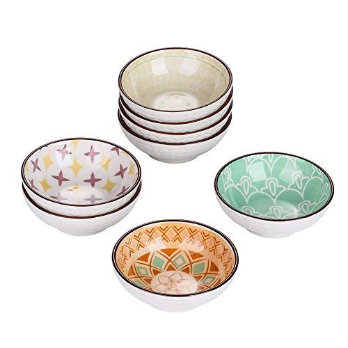 vancasso Tulip Juego de Aperitivos 8 Piezas Diseño de Mandala Mini Cuencos de Salsa Aceitunas, Pequeño Plato de Porcelana 8.8cm 70ml Colores