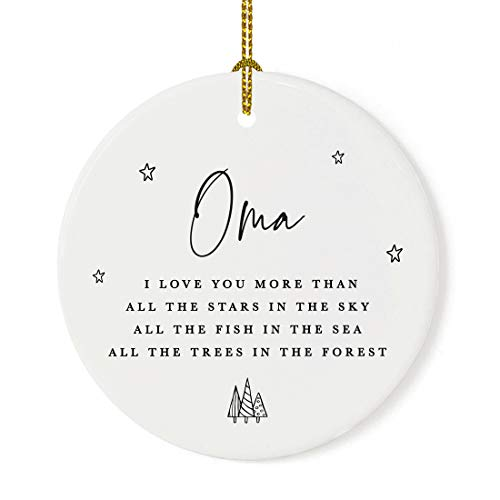Andaz Press Round Ceramic Porcelain Christmas Tree Ornament Keepsake Collectible Gift, Oma, I Love You More Than All The Stars in The Sky, All The Fish in The Sea1-Pack