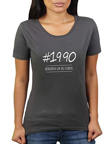 KaterLikoli - Camiseta de manga corta para mujer con texto en alemán 'Geboren 1990 um zu Leben - Año 1990 - Nochenta - 90 antracita XXL