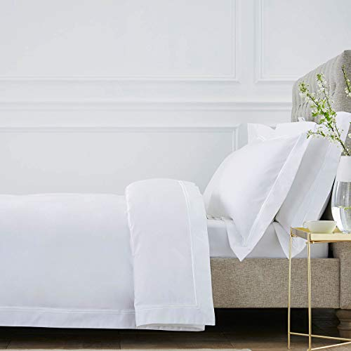 DUSK   Kensington Duvet Cover   800 Thread Count   100% Egyptian Cotton   Luxurious Premium Hotel Quality Duvet Cover With Double Row Of Stitched Cord   Double   White