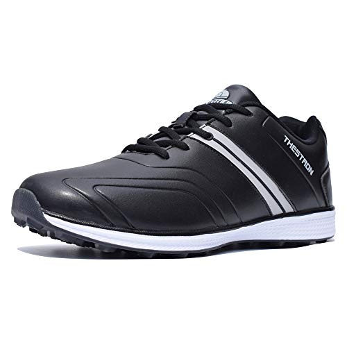 Thestron Men Golf Shoes Spikeless Sport Sneakers Walking Training Shoes … Black