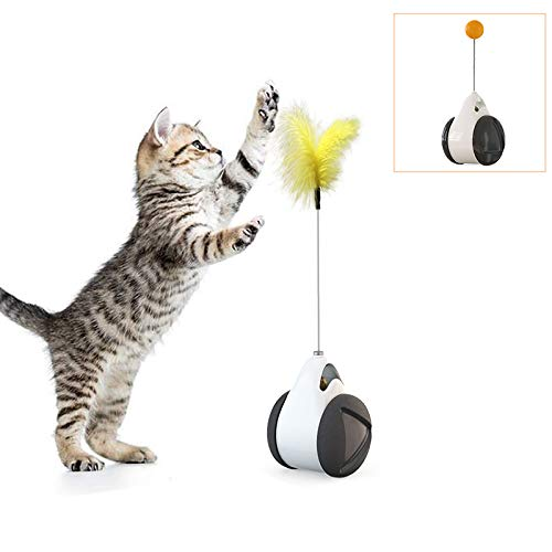 Dozod Interactive Cat Toys, Newest Version Balance Cat Toy with Feather and Ball, Physical Exercise Cat Teaser Toys for Your Indoor Cat/Kitten