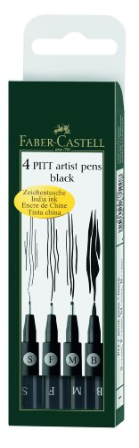 Faber-Castell F167100 Pitt Artist Pen Wallet Black (4 Sizes)