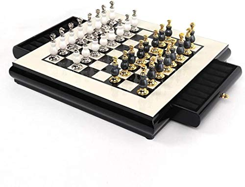 MWKLW Juego de ajedrez clásico Staunton Chess, Juego de Tablero de ajedrez de Madera Staunton con Ranuras de Almacenamiento para niños y Adultos