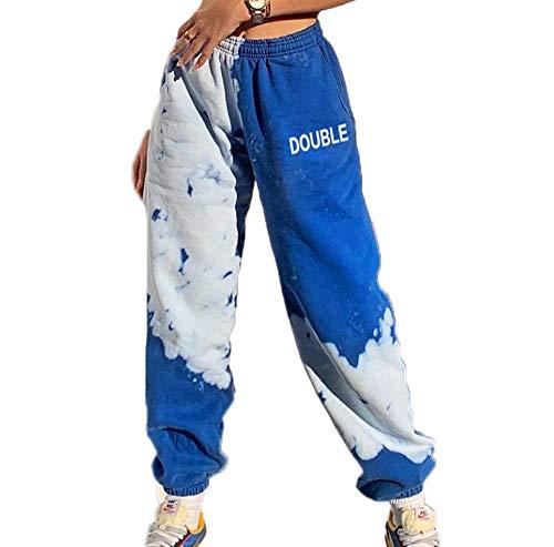 Blauer Himmel Weiße Wolke Buchstaben drucken Hip Hop Joggerhose Frauen Loose Casual Jogginghose