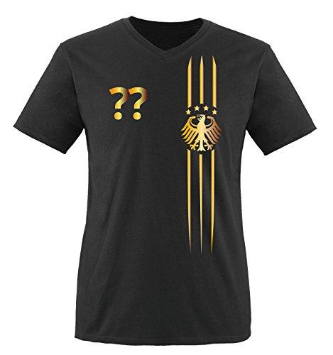 Trikot - MOTIV1 - DE - WUNSCHDRUCK - Herren V-Neck T-Shirt - Schwarz/Gold Gr. M