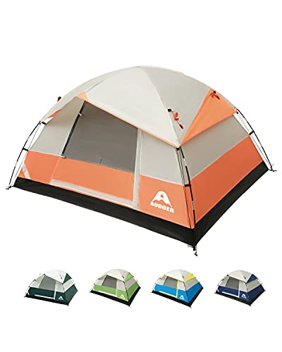 Camping Tents 4 People Family Tent Double Layer, Lightweight Waterproof Tent with Top Rainfly & Carrying Bag for Adults Kids - Camping, Backpacking, and Hiking(Orange)