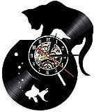 Lindo Gato y pecera Pared Arte Reloj de Pared Gato en Acuario Vinilo Reloj de Pared Gatito Reloj de Pared decoración Reloj Regalo