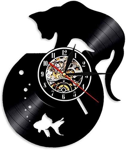 Wwbqcl Reloj de Pared de Gato Negro, pecera, Registro de Vinilo, decoración del hogar Tallada, Regalo para niños y Animales