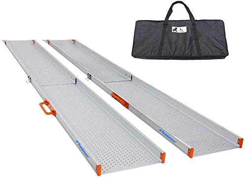 Ruedamann 8' Aluminum Wheelchair Ramp Wider Design, Perfect for Manual Wheelchairs,Heavy Scooters and Electric Wheelchairs (MR107W-8)