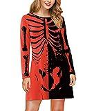 For G and PL Halloween Costume Women's Skeleton Funny Long Sleeve Midi Dresses Black & Red Skeleton XXL